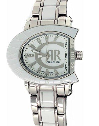 Cerruti 1881 Ladies Logo Watch Two Tone Silver with White Ceramic Bracelet Diamond CRWO013A211U