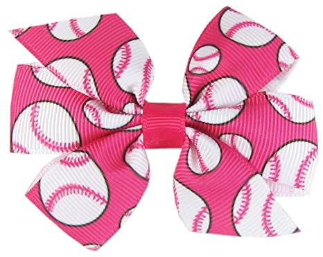 Girls Pink Pin Wheel Hair Bow Bobbles Sold In Pairs Handmade