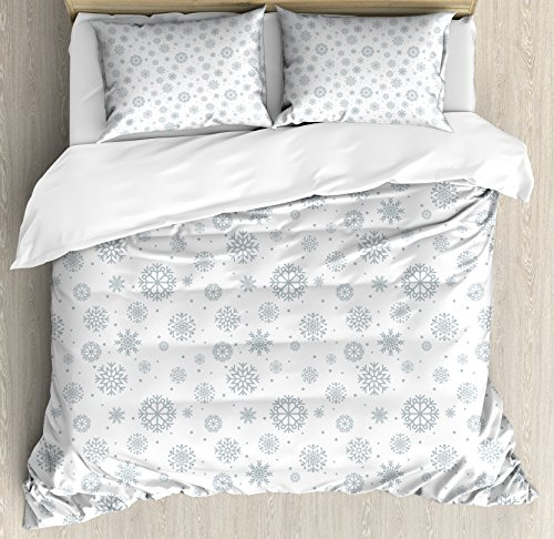 Ambesonne Winter Duvet Cover Set King Size, Pattern with Ornate Snowflake Motifs and Dots Retro Christmas Inspired Repetitive, Decorative 3 Piece Bedding Set with 2 Pillow Shams,