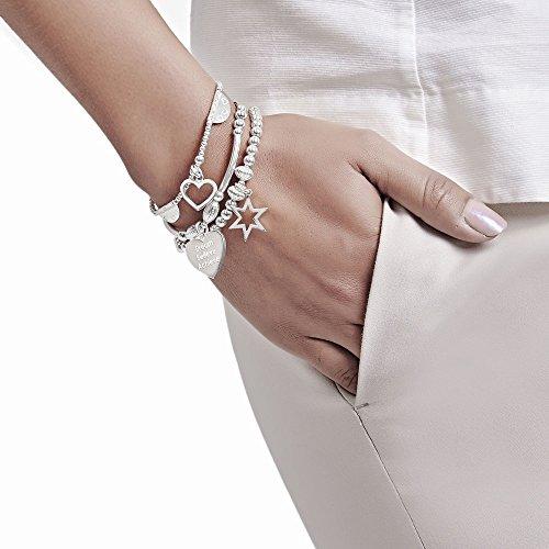 ANNIE HAAK Santi Silver Star Bracelet Charme Coeur avec Dream Believe Achieve Motto 17cm en argent 925