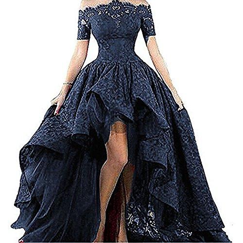 Diandiai Women's Hi-Lo Prom Dress Short Sleeve Lace Evening dress 2017 Black Off The Shoulder Maxi Dress NavyBlue
