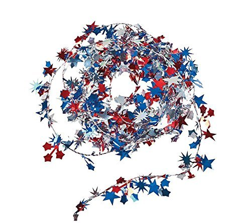 Foil Mini Star Patriotic Garland, Red, White and Blue, 25'