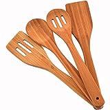 #8: Comllen Premium Organic Kitchen Cooking Utensils Wooden Spoon Spatula Bamboo Kitchen Tools, Set of 4 Bamboo Kitchen Tools