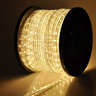 Warm White 1620-bulb LED Rope Light 150FT w/ Power Cords Connectors 110V for Indoor Outdoor Holiday Christmas Party Disco Restaurant Cafe Decor Lighting
