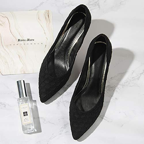 tacón de De Soltero Zapatos Patrón Yukun De Mujer De De Solo zapatos Mujer Zapatos Zapatos De Otoño Black alto Paño Aguja w7qqEp5g