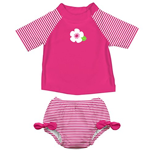 i play. Baby Girls' Rashguard Set With Built-In Absorbent Swim Diaper, White Flower, 6 Months (Baby Girls Rash Guard Top)
