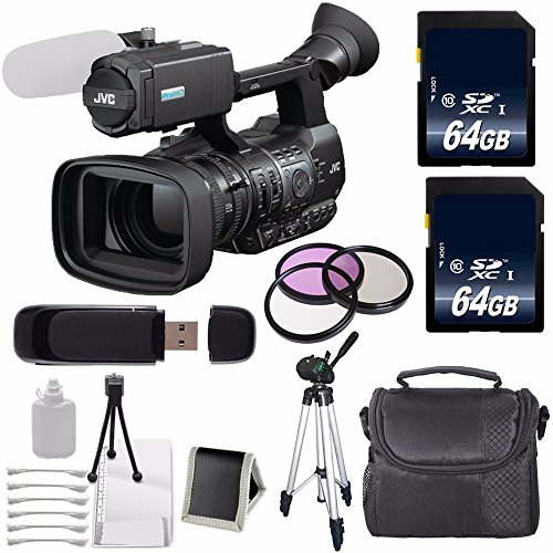 JVC GY-HM600 GYHM600 ProHD Handheld Camera Camcorder (International Model no Warranty) + 64GB SDXC Class 10 Memory Card + 72mm 3 Piece Filter Kit 6AVE Bundle 4 by JVC