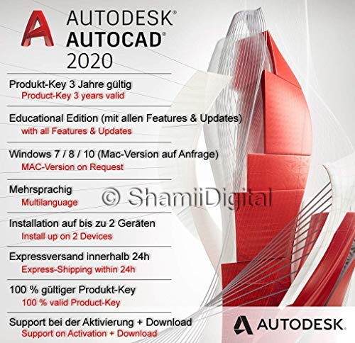 Autodesk AutoCAD 2020 | Digital software license / 1 year | Windows (64-bit only) | Express delivery 24h | including…