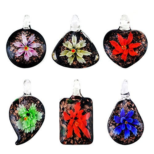 Price comparison product image Assorted Color Handmade Italian Murano Glass Floral Pendant with 18 inches Genuine Leather Chain