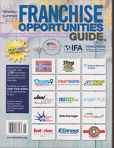 Franchise Opportunities Guide Spring/Summer 2017
