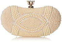 MG Collection Amalia Pearl Evening Bag, Beige, One Size