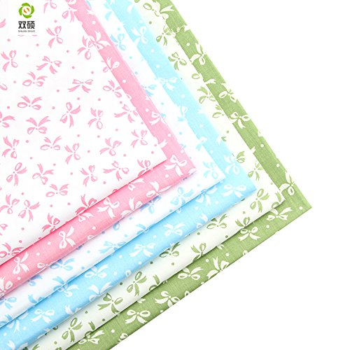 High Five Store New 6pcs Bow-Knot Floral Patchwork Cotton Fabric Fat Quarter Bundles Needlework Sewing Patchwork Fabric for Bag Baby Clothes