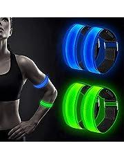 LED-armband, 4-pack sportarmbanden, hardloopverlichting voor hardlopers, fietsaccessoires met hoge zichtbaarheid voor heren, hardloopgeschenk, reflecterende armbanden voor nachtelijk hardlopen
