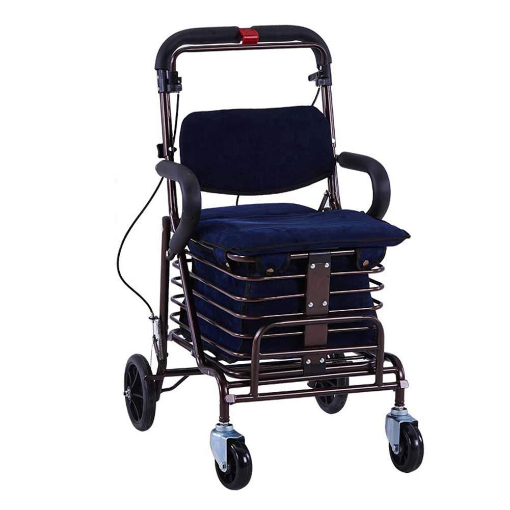 ZHAOHUI ショッピングカート 座席付き 折りたたみ可能 オックスフォード布 ロッドブレーキ ダブルフロントホイール 鋼 老人 ペダルを持って、 100kgの負荷、 2色展開 (色 : 青) B07JLJ5P7L 青