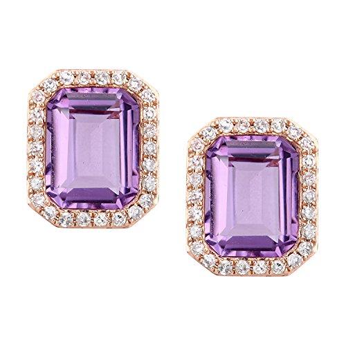 Revoni Bague en or rose 9ct-Diamant et Améthyste Boucles d'oreilles clous Coupe rectangulaire