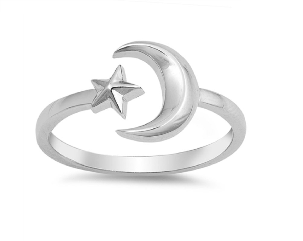 CloseoutWarehouse Sterling Silver Plain Moon And Star Adjustable Ring Size 4