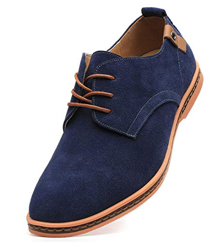 Dadawen Men's Blue Leather Oxford Shoe - 6.5 D(M) US -