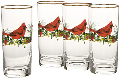 Lenox Winter Greetings Cardinal Highball Glasses Set of 4 , Clear