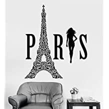 Large Vinyl Wall Decal Paris Eiffel Tower Woman France Girl Room Stickers (ig3580) Dark Red