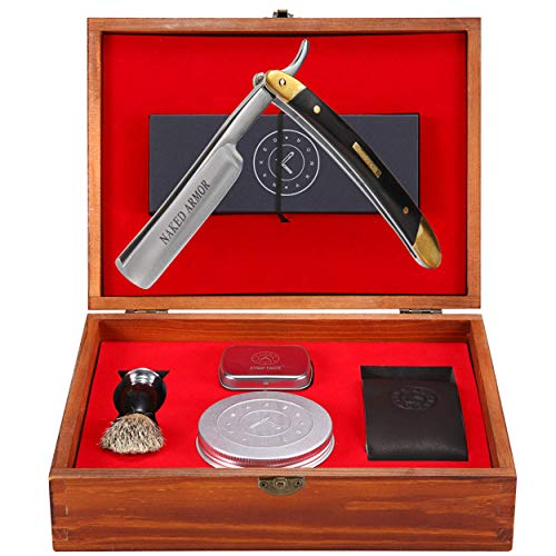 Straight Razor Kit - Amazing. Everything You Need in One Box - Cutthroat Shaving Sharp Edge Stainless Steel Blade + Leather Strop, Soap, Badger Friendly Brush Set, Balanced Wood Handle, Holiday Happy