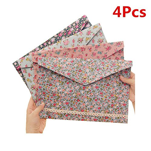Expanding Catalog Envelopes (Set of 4 Rural Floral Felt A4 Expanding File Folder Bag Case Document Briefcase with Snap Button Envelope Portfolio Handbag Paper Organizer for School Office)
