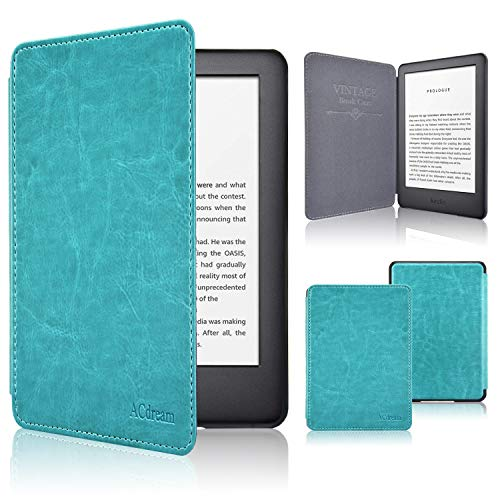 ACdream Case Fits All-New Kindle 10th Genetation 2019 Release, The Thinnest and Lightest Premium PU Leather Cover Case for Kindle 10th Generation 2019 with Auto Wake Sleep Feather, Sky Blue