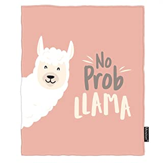 Moslion Llama Blanket Cute Cartoon Animal Baby Llama with No Prob Llama Motivational Quote Throw Blanket Flannel Home Decorative Soft Cozy Blankets 40x50 Inch for Baby Kids Pet Pink