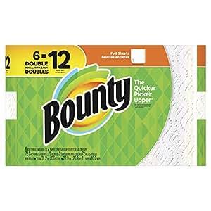 Bounty paper towels, white, 6 double rolls (12 regular rolls), 6 Count
