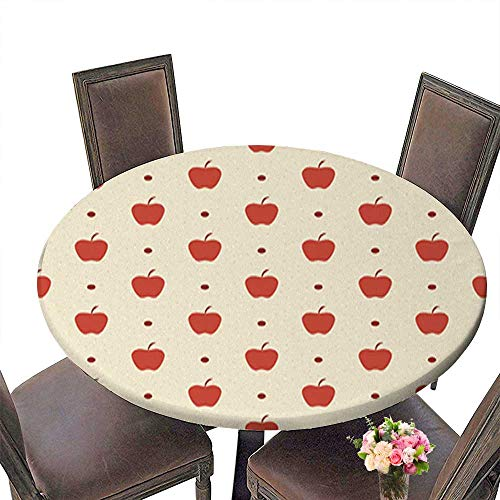 Spillproof Fabric Round Tablecloth,Retro Seamless Pattern Red Apples Kitchen Decoration Washable up to 35.5