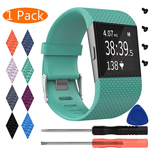 KingAcc Fitbit Surge Bands, Silicone Accessory Replacement Band for Fitbit Surge, with Metal Buckle Fitness Wristband Strap WatchBand Women Men (1-Pack, Teal Blue, Small)