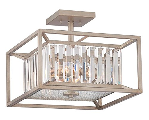 Aged Platinum Linares 3 Light Semi-Flush Ceiling - Semi Platinum Ceiling Flush Lamp