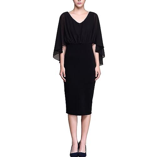 KAXIDY Vestiti Corti Eleganti Vestito Donna Vestito da Sera Vestito Abiti Aderente Nero