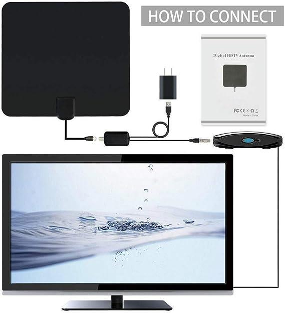 BangHaa Antena de TV Digital HD, 100 Millas de Alcance Interior Antena Digital 4K 1080P 16 pies de Cable coaxial, Antena de TV de Interior con Amplificador de señal Booster: Amazon.es: Electrónica