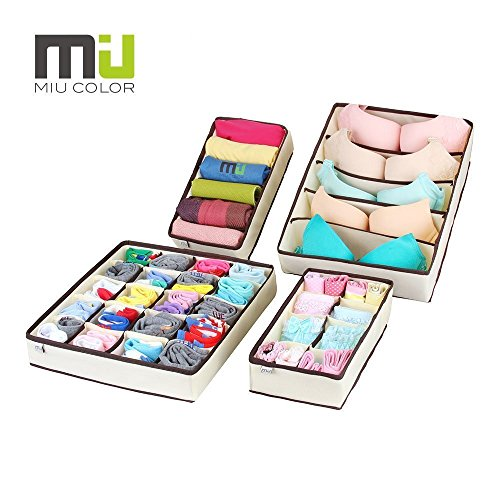 Price comparison product image MIU COLOR Drawer Organizer, Closet Organizer Bra Underwear Drawer Divider 4 Set Beige