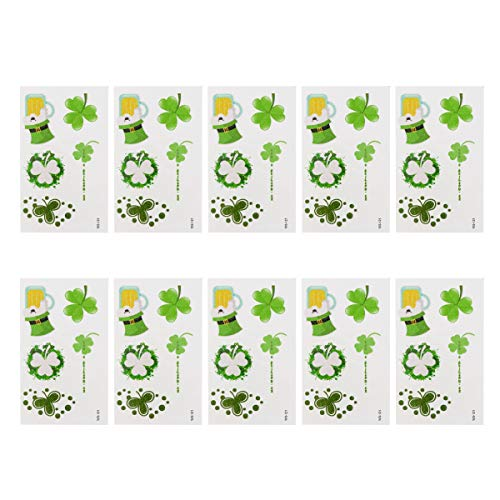 Amosfun 10 Sheets St. Patrick's Day Shamrock Tattoo Stickers Glitter Temporary Body Art St. Patrick's Day Party Supplies