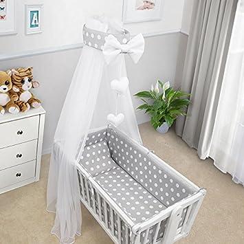 Canopy /& Bow 7 Pcs Crib Bedding Set with All-Round Bumper 90x40 cm Plain Blue