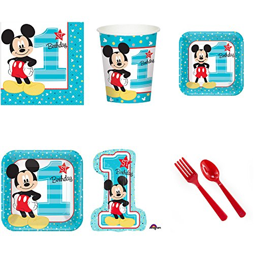 Mickey Mouse First Birthday Party Pack Supplies for 16]()