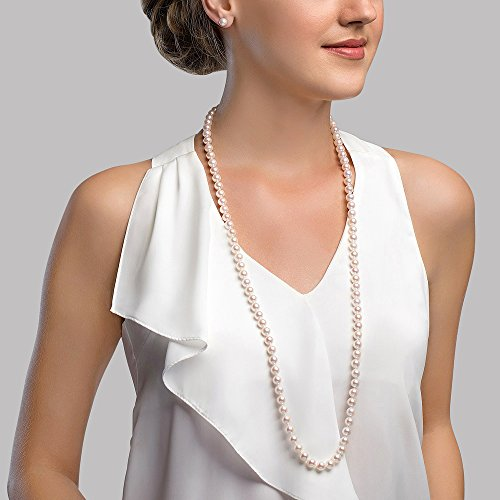 Freshwater Pearl Necklace. THE PEARL SOURCE 7-8mm AAA Quality Round White Freshwater Cultured Pearl Necklace for Women in 24. #freshwaterpearls