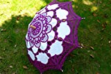 Saitec® New Fashion Purple Embroidered Battenburg Lace Parasol Wedding Bridal umbrella