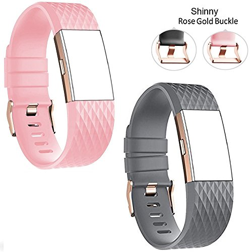 Rose Buckle (DB For Fitbit Charge 2 bands rose gold buckle,charge 2 sport replacement bands lavender, Fitbit Charge 2 Accessory Wristbands Large)