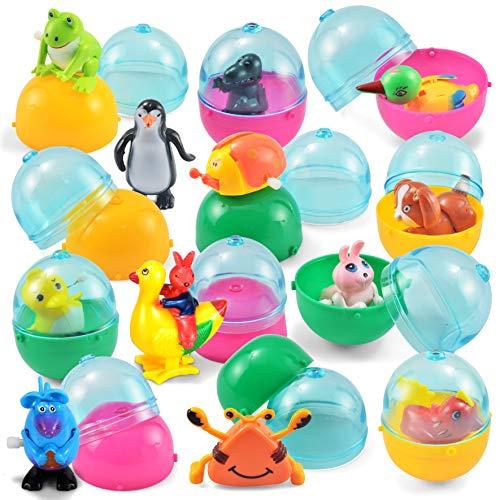 JOYIN 12 Pieces Easter Eggs Prefilled with Assorted Wind-up Toys Easter Basket Stuffer for Kids Easter Egg Stuffer Filler Party Favors -