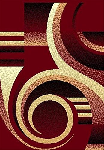 Burgundy 2 X 8 Runner Area Rugs Modern Contemporary Abstract Colorful Swirls Carpet