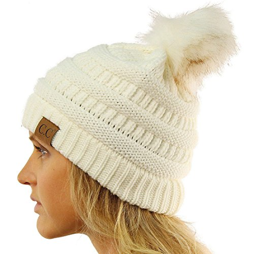 CC Matching Fur Color Pom Pom Thick Stretchy Slouchy Chunky Knit Beanie (Signature Cable Knit)