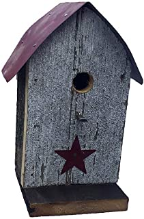 product image for Barn Wood Round Roof Wren Bird House w/Wire Hanger & Clean Out - Red Roof with Red Star