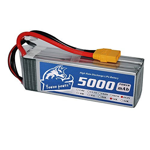 YoWoo 5000mAh 22.2V 6S 50C XT90 Connector RC LiPo Battery Pack for Align T-REX E-flite EDF Jets 600 700 Quadcopter Helicopter FPV (6.1x1.89x1.82in,1.72lb )