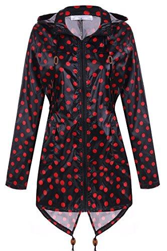 Zipp Femme Coupe Veste Noir Pluie Manteau et Impermable Capuche Meaneor Vent de Rouge qOgzwqH1