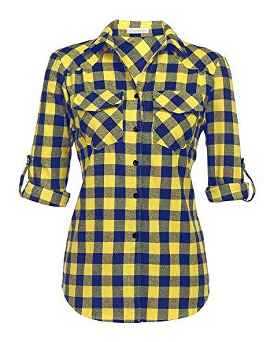 (Genhoo Women's Roll Up Long Sleeve Tartan Plaid Collared Button Down Boyfriend Casual Flannel Shirt Top (Yellow,M) )