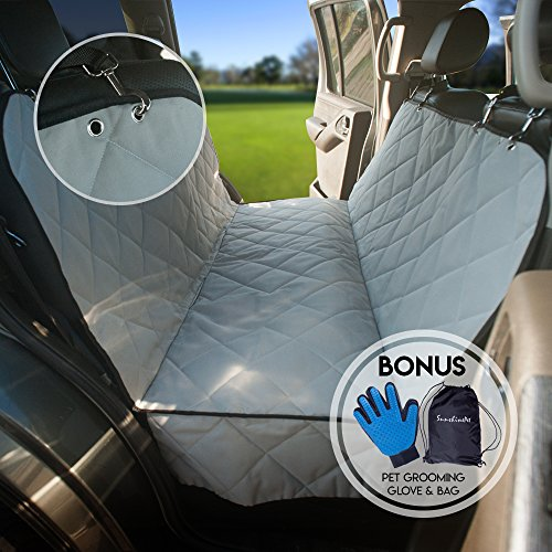 Dog Back Seat Protector for Cars, Gray Pet Seat Cover Hammock For Truck, SUV, Machine Washable Auto Rear Blanket, Waterproof Universal Size 52