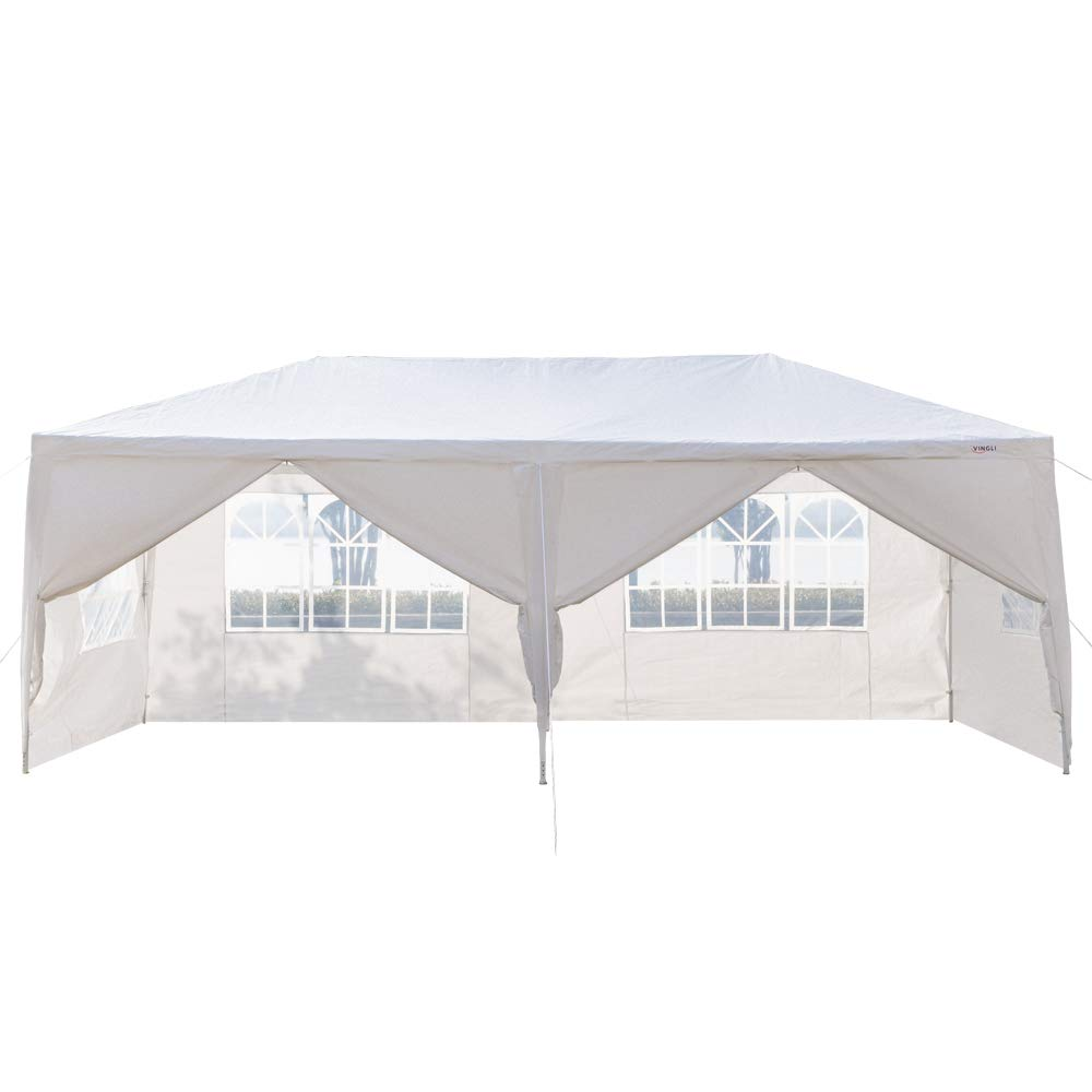 Z ZTDM 10 x 10 Outdoor Canopy Tent,Party Wedding Gazebo Pavilion Patio Catering Event Dancing Upgrade Tube Steel,w//4 Removable Sidewalls Cover Free Stainless Stake and Nylon Ropes