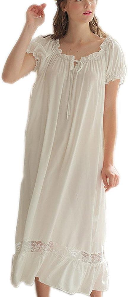 Vintage Nightgowns, Pajamas, Baby Dolls, Robes Singingqueen Womens Cotton Nightgown Nightshirt Ladies Victorian Sleepwear Dress Gown Pajamas Lounger $25.99 AT vintagedancer.com